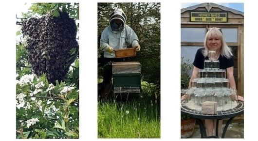 Behive bee keeper and honey jars-1